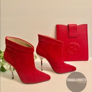 New Aldo Red Suede Stiletto Booties